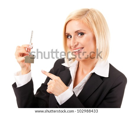young business woman in front of white background - stock photo