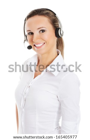 Young business woman in headphones and microphone. Isolated on white.  - stock photo