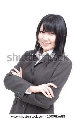 young business woman isolated on white background - stock photo