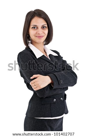 Young business woman. Isolated on white background. - stock photo