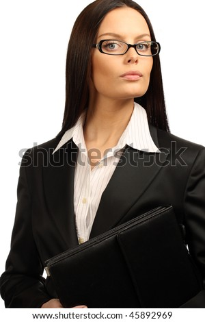 Young business woman. Isolated over white background - stock photo