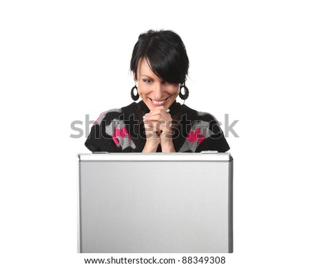 Young business woman looking at the suitcase getting and surprise, isolated on white - stock photo