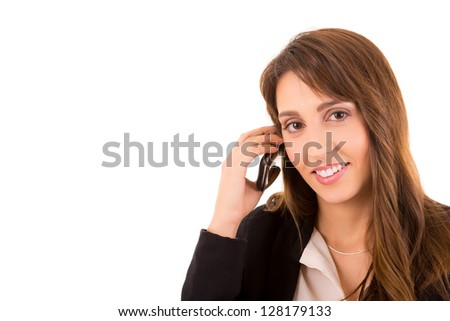 Young business woman on the phone, isolated over a white background - stock photo