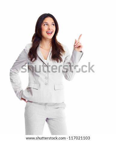 Young business woman presenting a copyspace isolated on white background - stock photo