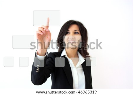 young business woman pressing buttons on touchscreen - stock photo
