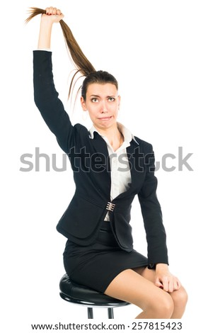 young business woman pulling at his hair. nervous breakdown, work. isolated on a white background - stock photo