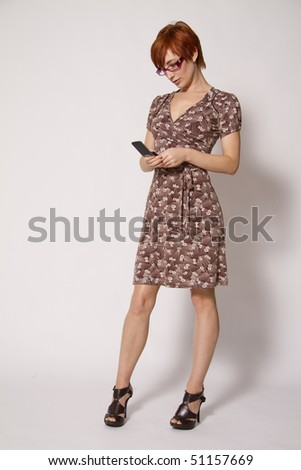 Young Business Woman Reading Text Message - stock photo
