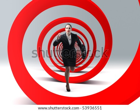 young business woman run in a red 3d spiral - stock photo