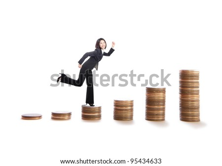 young business woman running on money stairs , model is a asian beauty, isolated on white background - stock photo