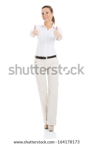 Young business woman showing OK. Isolated on white.  - stock photo