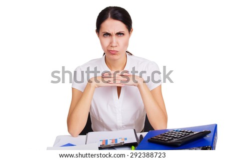 Young business woman sitting stressed in office. People overworked. Headache at work. Tired female. Isolated. - stock photo