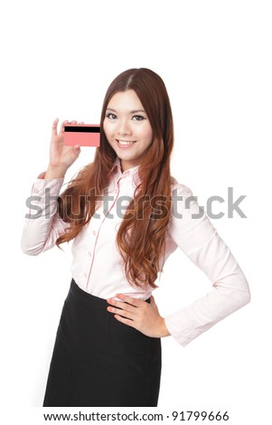 Young Business woman smile and take credit card isolated on white background, Model is a asian beauty - stock photo