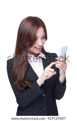 Young Business woman smile use the mobile phone isolated on white background, model is a asian beauty - stock photo