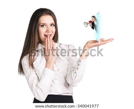 Young business woman speak to the cell phone with director - stock photo
