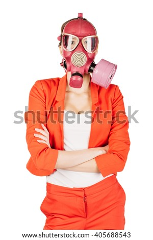 young business woman standing with a gas mask on white background - stock photo