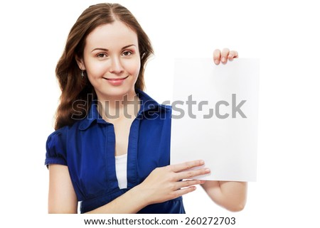 Young business woman style isolated over white background hold sign card. - stock photo