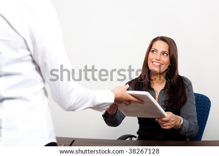 Young business woman taking a formula - stock photo