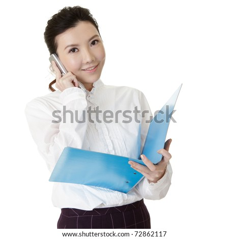 Young business woman talking on cellphone and holding document with smiling face. - stock photo