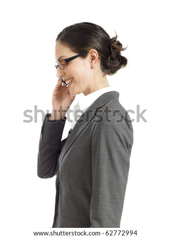 young business woman talking on the phone - stock photo