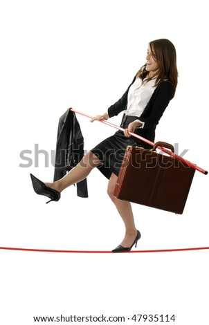 young business woman walking on a tightrope nearly falling on white background - stock photo