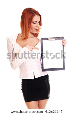 young business woman with clipboard isolated on white  - stock photo