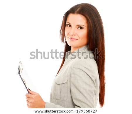 Young business woman with folder, isolated on white background - stock photo
