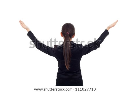 Young business woman with her hands opened. back picture on white background. - stock photo
