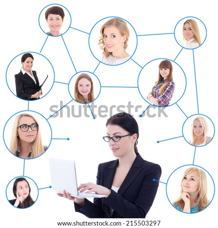 young business woman with laptop and her social network isolated on white background - stock photo
