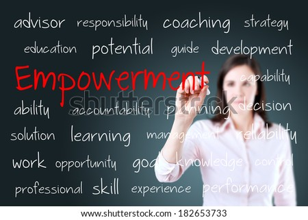 Young business woman writing empowerment concept. - stock photo
