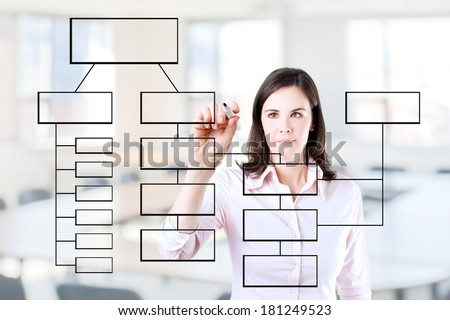 Young business woman writing process flowchart diagram on screen. Office background. - stock photo