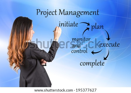 Young business woman writing project management workflow - stock photo
