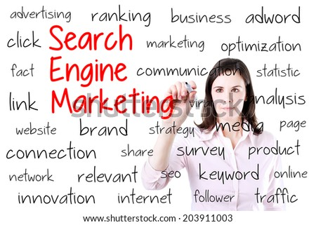 Young business woman writing search engine marketing concept. Isolated on white. - stock photo