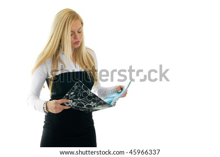 Young business women reading her report. Isolated on white - stock photo