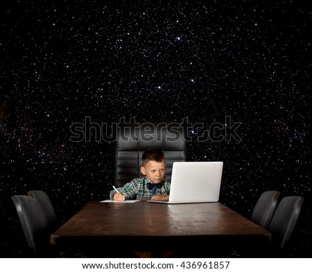 young businessman at work in the office. Elements of this image furnished by NASA - stock photo