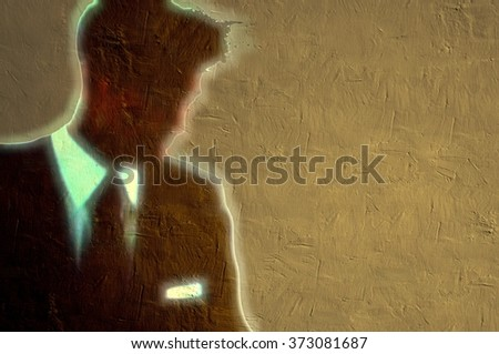 Young businessman blurred figure with bright halo - stock photo