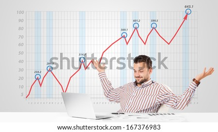 Young businessman calculating stock market with rising graph in the background - stock photo