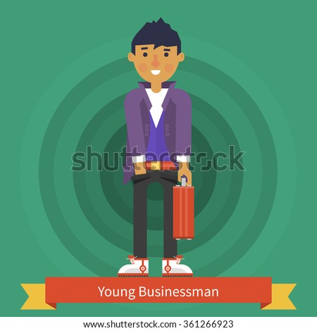 Young businessman character design. Young business man, young man, young businessman isolated, business person, professional male, job executive illustration. Raster version - stock photo