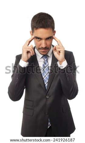 Young businessman concentration gesture - stock photo