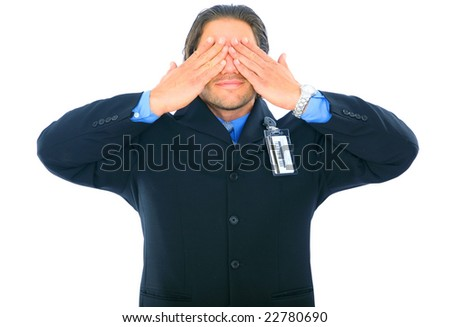 young businessman cover his eye. isolated on white - stock photo