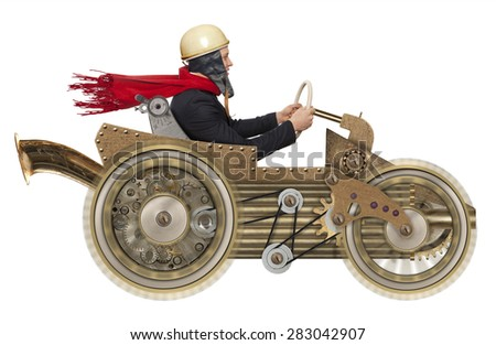 Young businessman driving fast on a toy car. Steampunk style. Photo compilation - stock photo