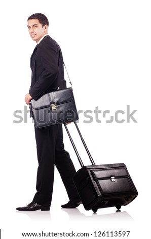 Young businessman during business trip - stock photo