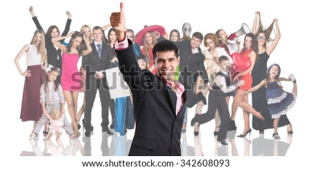 Young businessman foreground on the people crowd background isolated on white - stock photo
