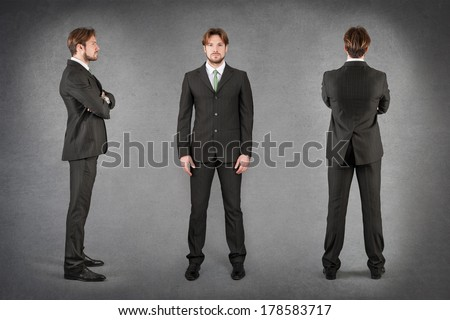 Young businessman full body portrait in different positions against grunge background.  - stock photo