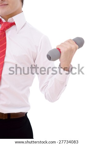 young businessman having an exercise on white - stock photo