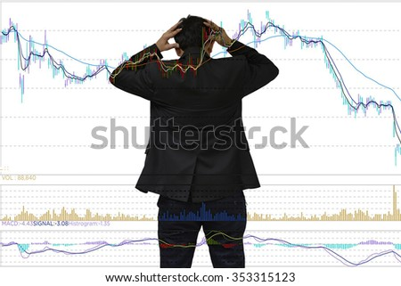 Young businessman his declining share. Bad business, economy in recession! - stock photo