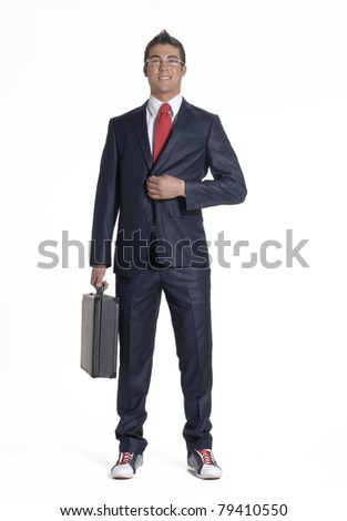Young Businessman holding a briefcase on white background. - stock photo