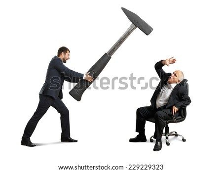 young businessman holding big hammer and screaming at scared senior businessman. isolated on white background - stock photo