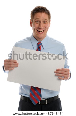 Young Businessman holding blank sign and expressing excitement isolated on a white background - stock photo