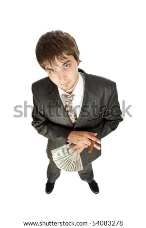 young businessman holding money and a cigar, fisheye, isolated on white - stock photo