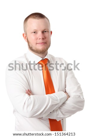 Young businessman in a orange tie and white shirt. White background. - stock photo